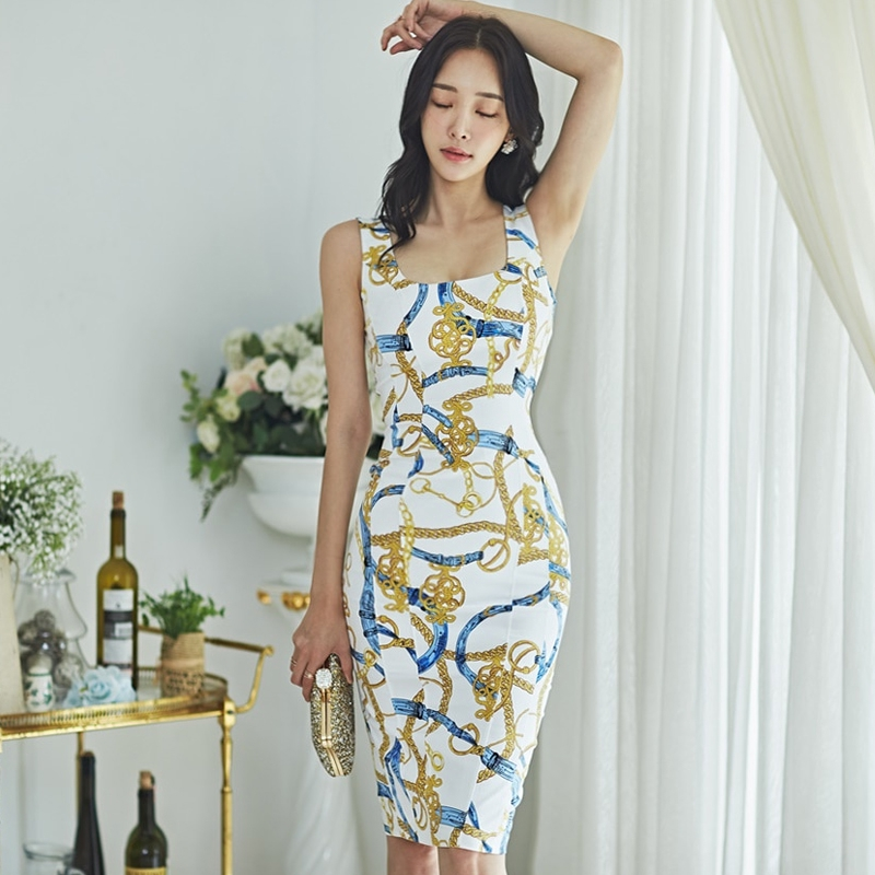 Korea Women Night Club Party Dresses Sleeveless Bodycon Floral Bodycon Sexy Slim Waist Dress Clothes Shopee Indonesia