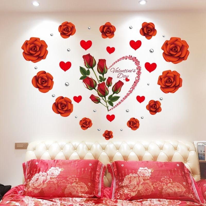 Kreatif Bunga Mawar Dinding Stiker Hidup Dekorasi Dinding Kamar Tidur Sofa Latar Belakang Tv Menanca Shopee Indonesia