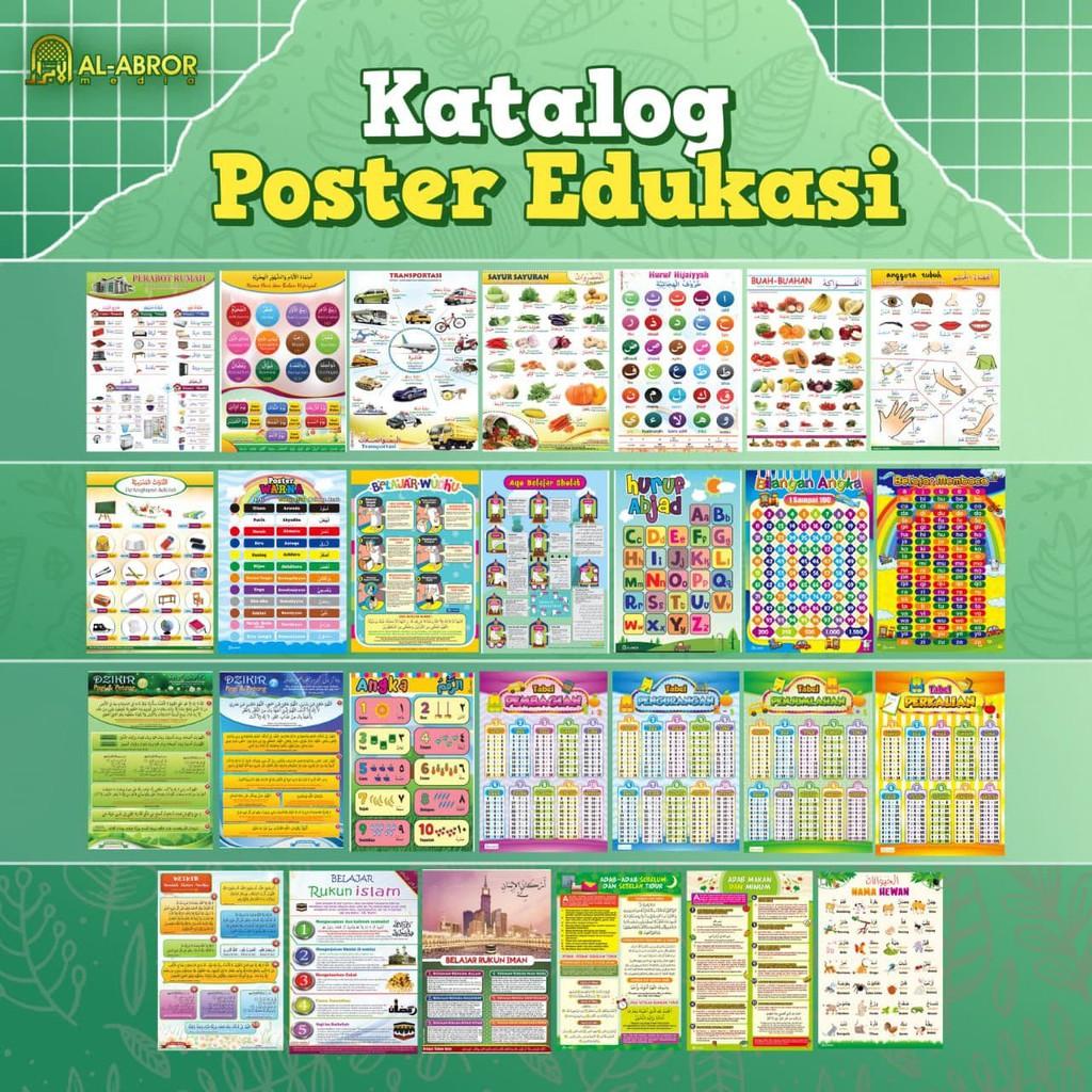 Poster Edukasi Edukatif Belajar 20 Tema Anak Muslim Indonesia Arab Nama  Ibadah Adab Berhitung