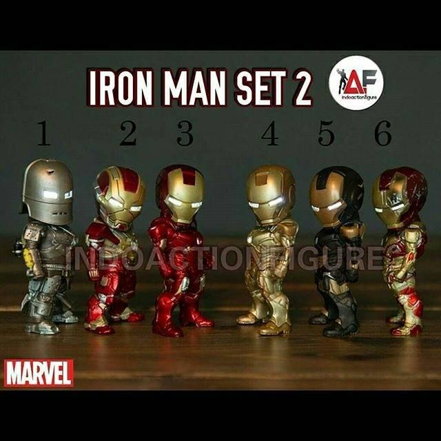 Action Figure Iron Man Marvel Chibi Mini Original Merk Tideway Set Artikulasi Led Shopee Indonesia