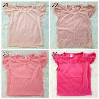 Baby Ruffle Tee Polos / Kaos Polos Bayi Anak Perempuan / Candy Tee Polos Bayi Anak Perempuan
