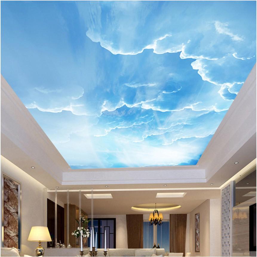 Bayar Di Tempat Blue Sky White Clouds Ceiling Mural Living Room