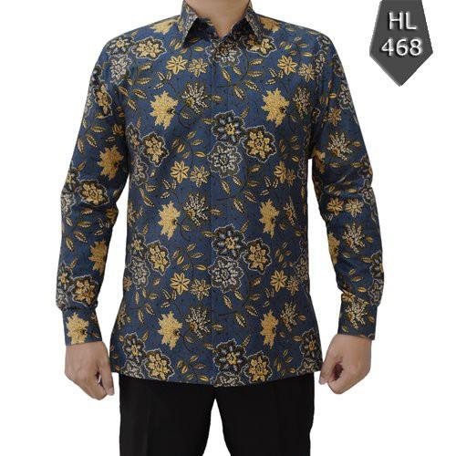 baju kemeja batik pria bahan katun lengan panjang kode 468 | Shopee  Indonesia