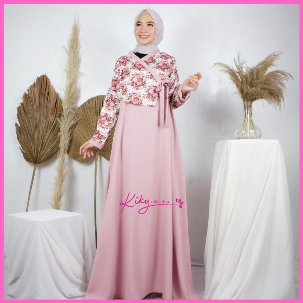 Fashion Muslim Dress Gamis Katun Jepang Original Hanbok Set Inner Outer  Vintage Roses