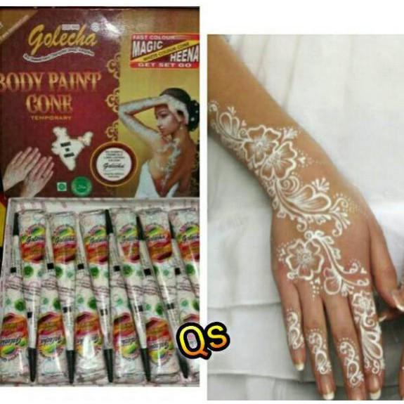 Golecha Henna / Hena Deezee Cone White Putih HEENA TANGAN Import India | Shopee Indonesia