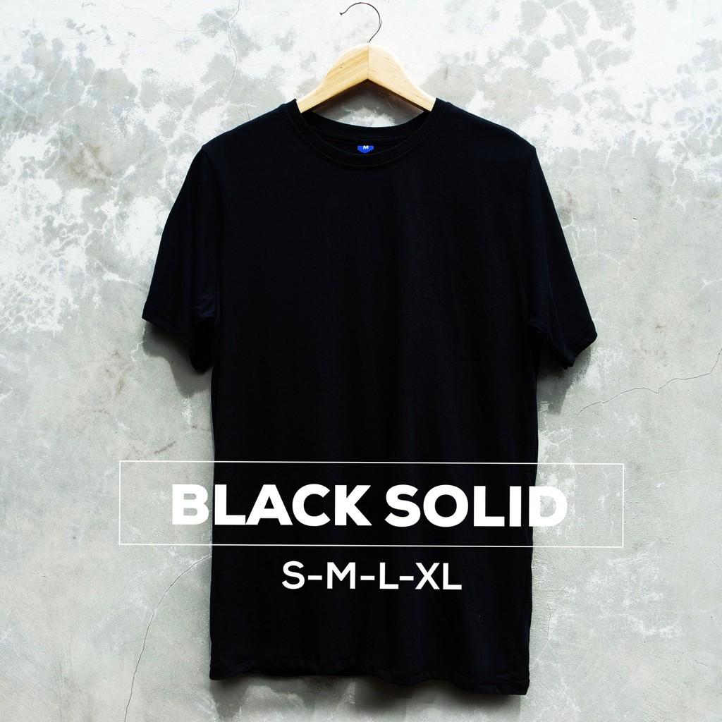 Baju Kaos Polos Lengan Pendek BLACK SOLID Hitam Cewek Cowok   Shopee Indonesia