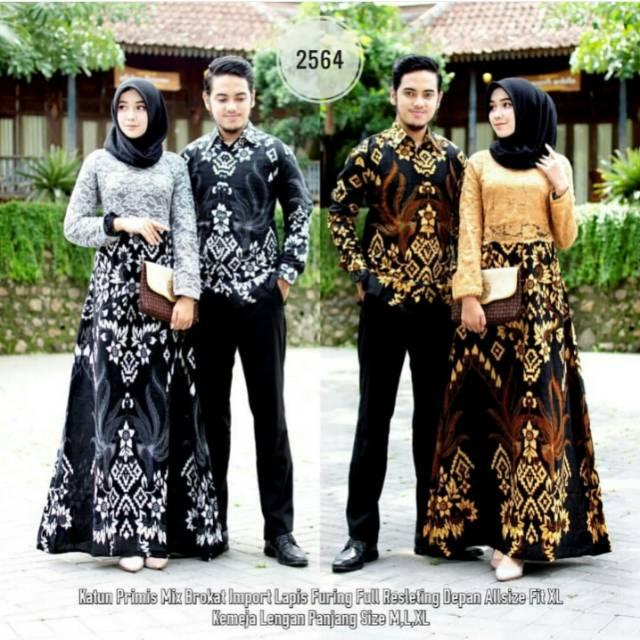 Shopashop Solo Batik Couple Gamis Brukat Kombinasi Batik Soga 2564