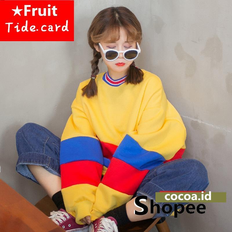 Sweater/Jumper BF Wanita High Neck Resleting Lengan Panjang Longgar Bahan Kashmir Gaya Harajuku   Shopee Indonesia