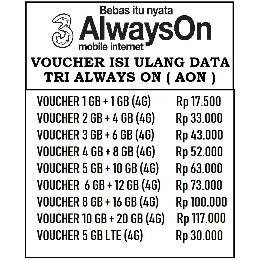 Voucher Isi Ulang Data 3 Tri Three Aon 30gb 30 Gb Lte 3gb 6gb Paket 2gb 1gb Dan Extra 21 Shopee Indonesia