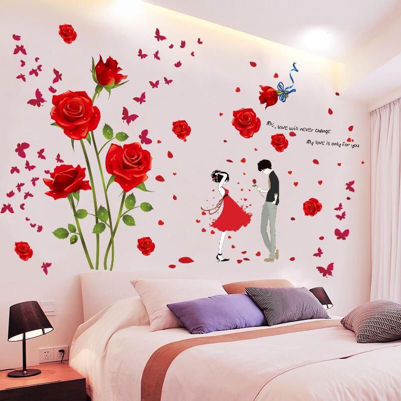 Stiker Dinding Hangat Bunga Romantis Kamar Tidur Di Samping Tempat Tidur Wallpaper Dinding Menancapk Shopee Indonesia