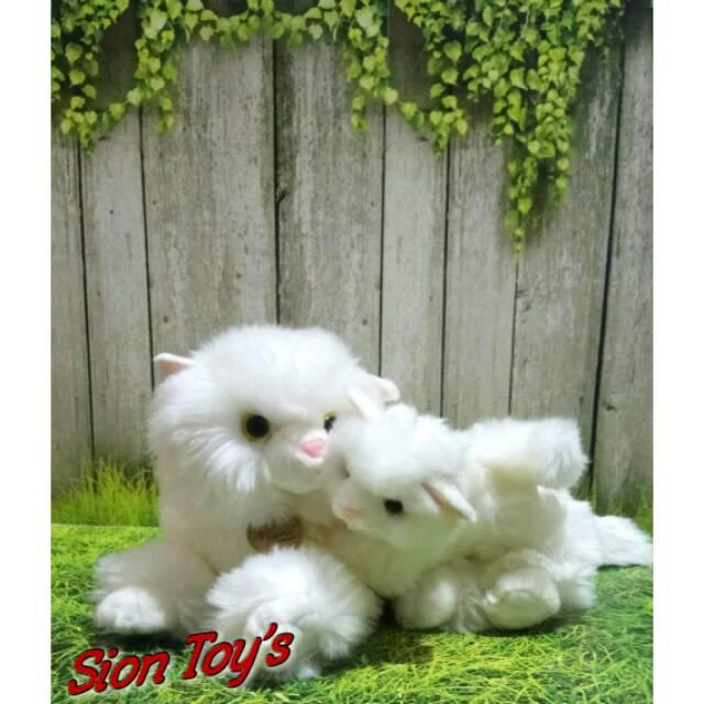 Boneka Kucing Anggora Bawa Anak