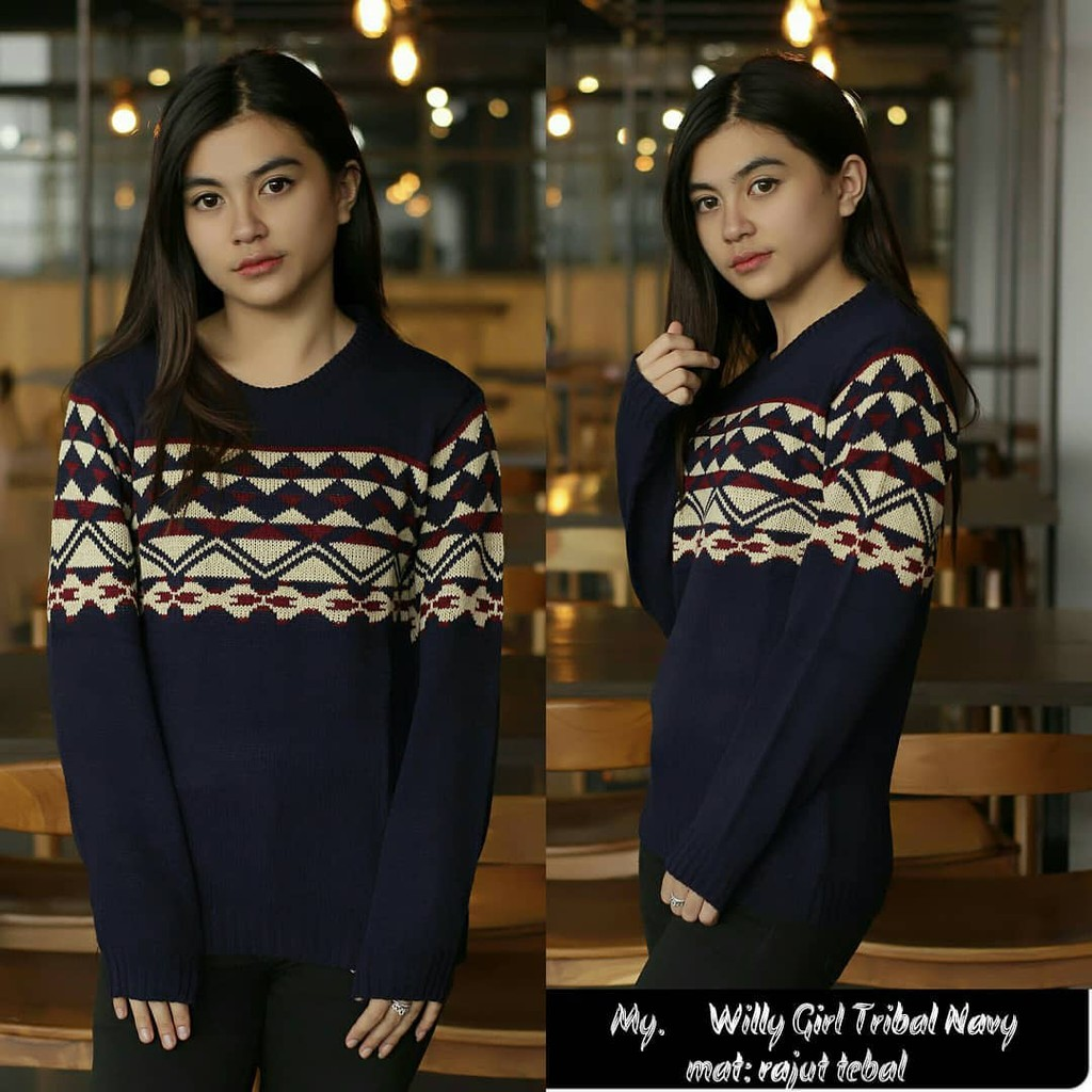 Sweater Wanita Jheny Tribal Rajut Shopee Indonesia Pria Tedy Grey Tirbal