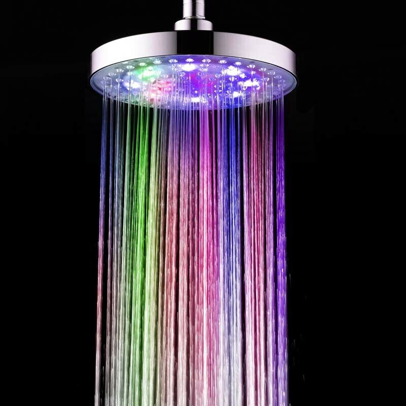 Shower Heads Led Easy Installation Round Sprinkler Sprayer 7 Colors Changing Silver Bathroom Shopee Indonesia