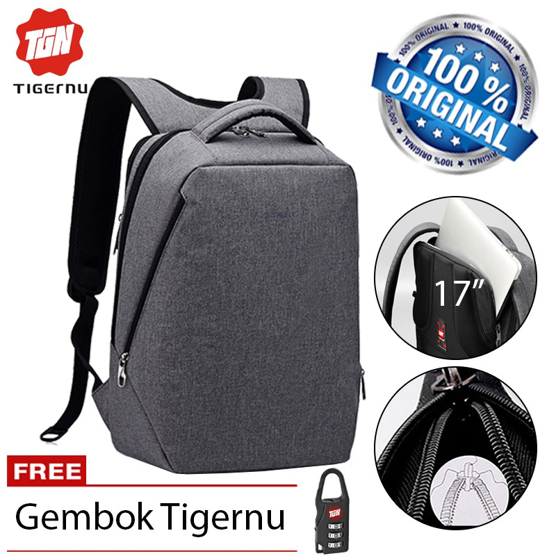 b626fccbc2 Tigernu 3164 Tas Ransel Laptop Gaming 17 Inch Anti Theft