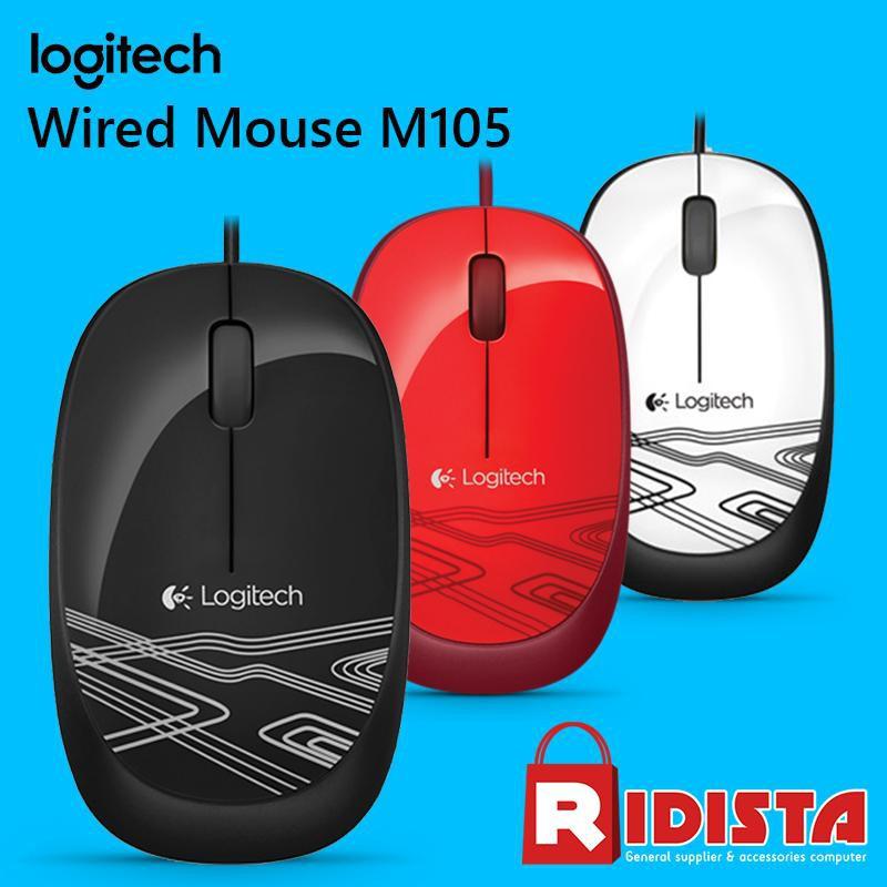 Logitech Wired Optical Mouse M105 Hitam Biru Merah L068 Termurah | Shopee Indonesia