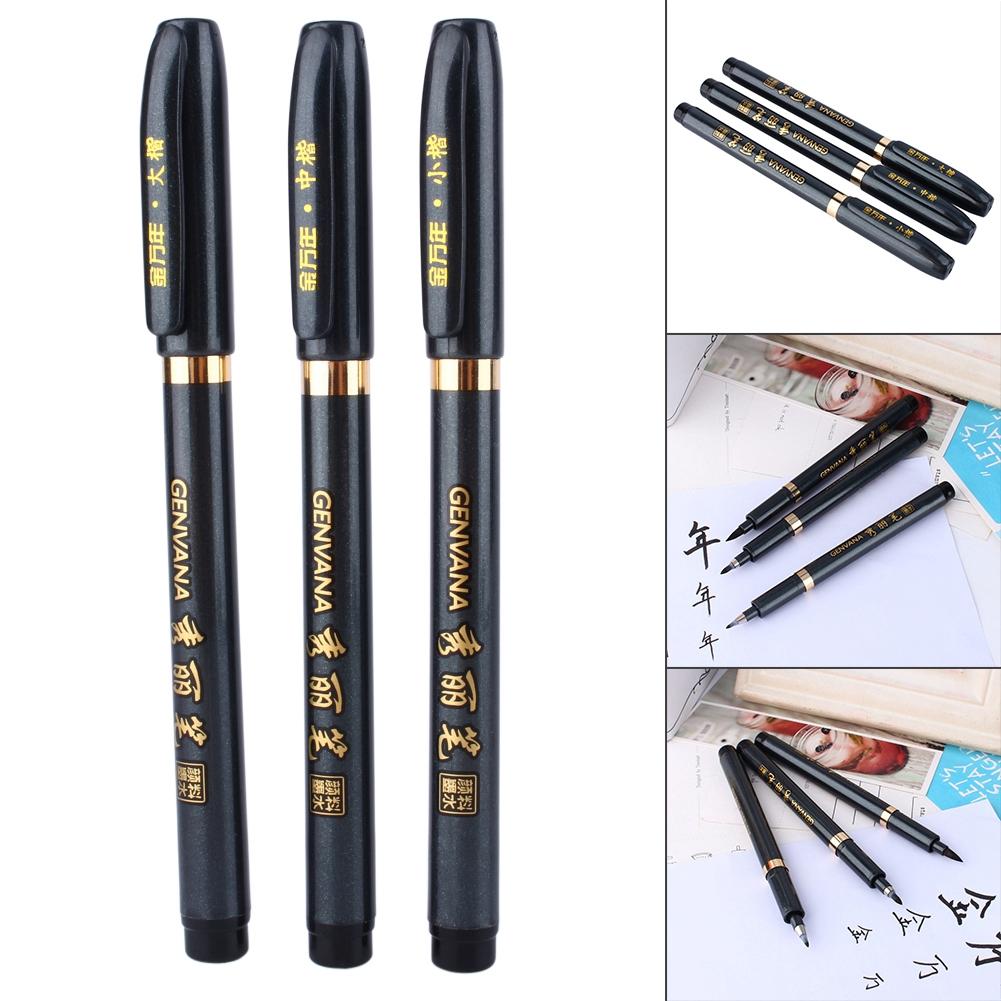 3Pcs Calligraphy Pen Chinese Japanese Calligraphy Shodo Brush Ink Pen Writing Drawing Craft