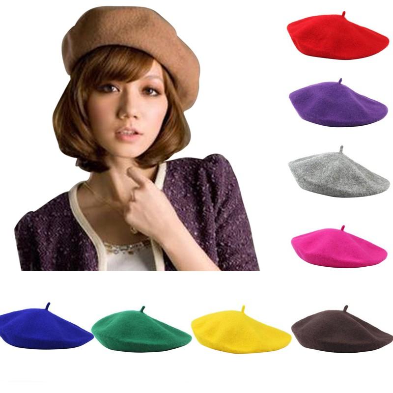 KUPLUK KOREAN WOMAN CASUAL FASHION WARM PUR COLOR FLATCAP BERET HAT (BLACK)   9c63a612d1