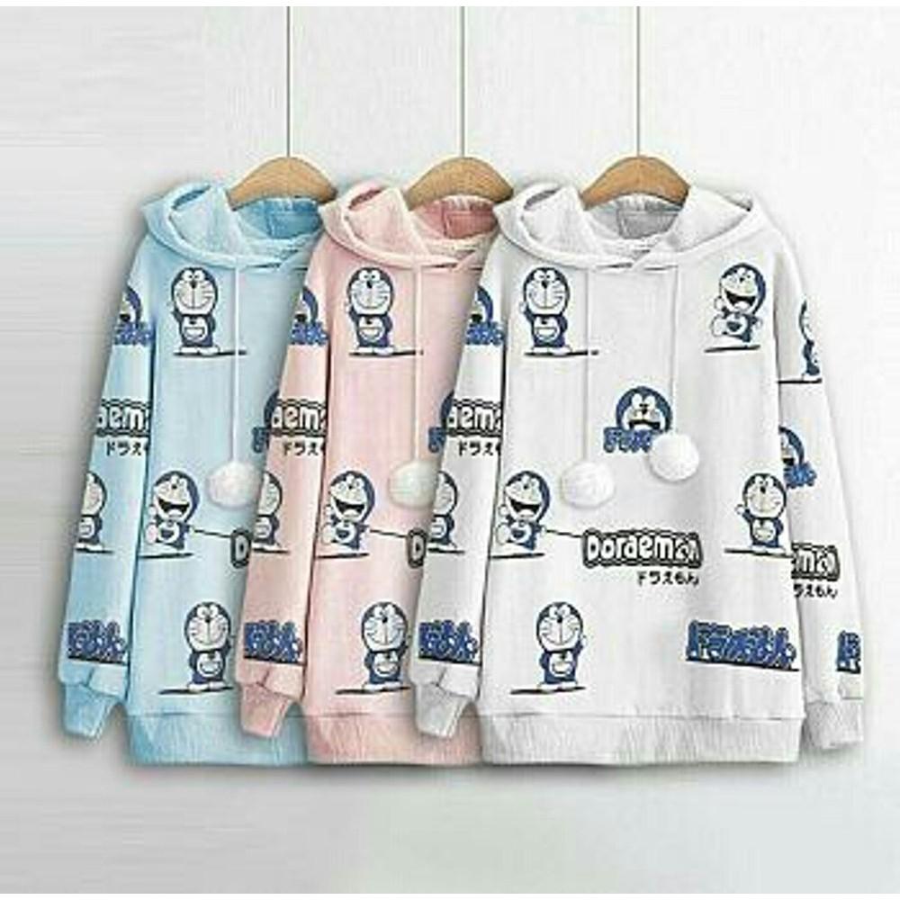 B Sweater Doraemon Pompom Gil Sweater Wanita Gambar Kartun Doraemon Lucu Terlaris Harga Murah Mode
