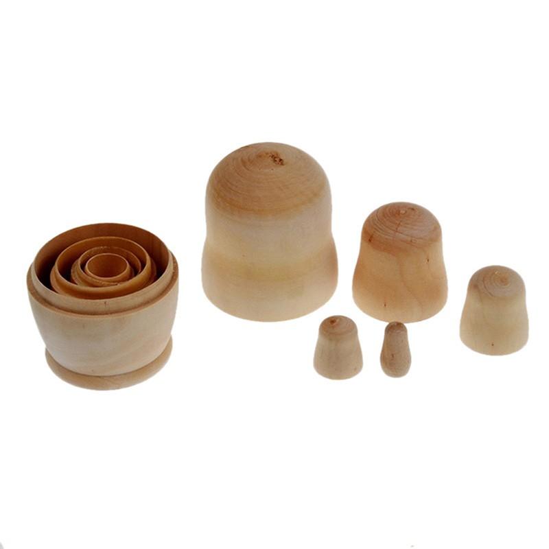 5Pcs//Set Handmade Wooden Russian Matryoshka Blank Unpainted Nesting Dolls