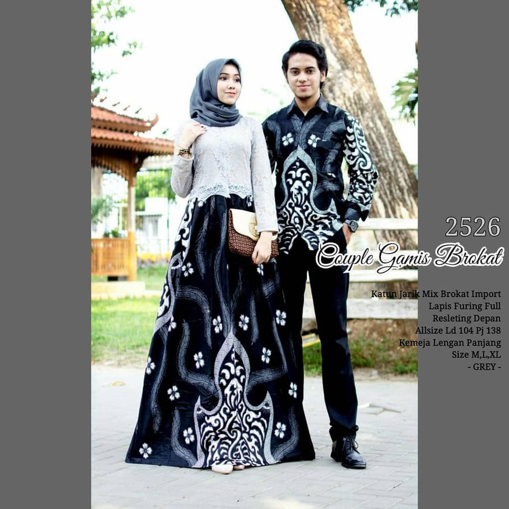 Batik Couple Gamis Brokat 12 Hitam Putih Baju Batik Untuk Pesta Kondangan
