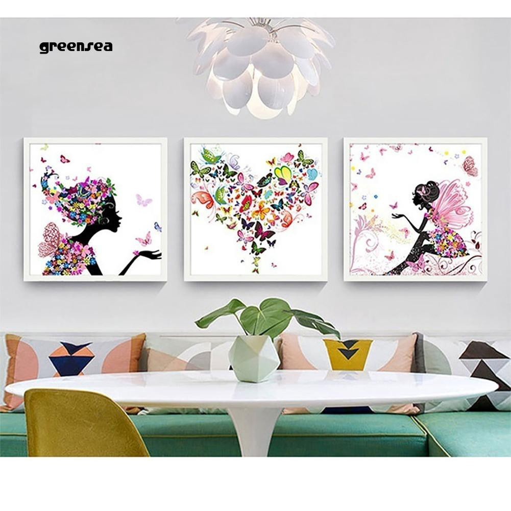 Greensea_Butterfly Flower Painting Decorative Picture Home Living Room Wall  Art Decor