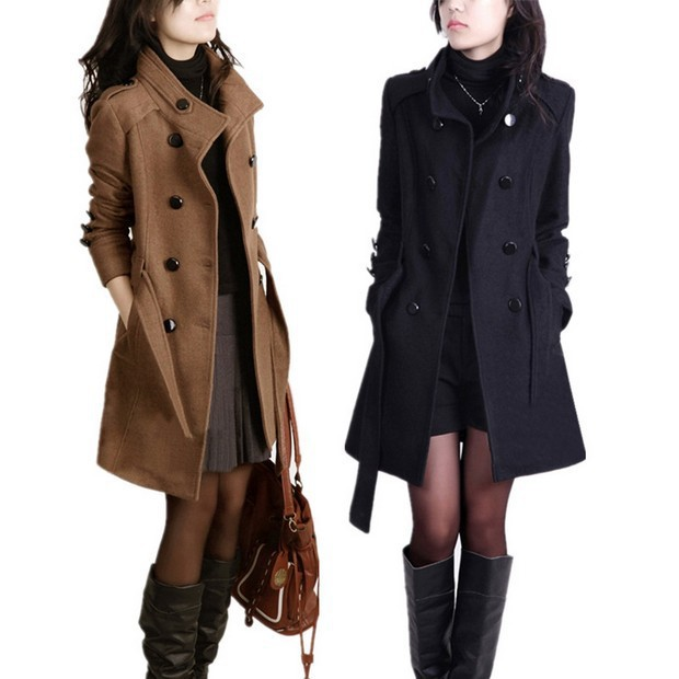 Women S Fashion Windbreaker Long Wool Coat Ladies Korean Winter Coats Shopee Indonesia