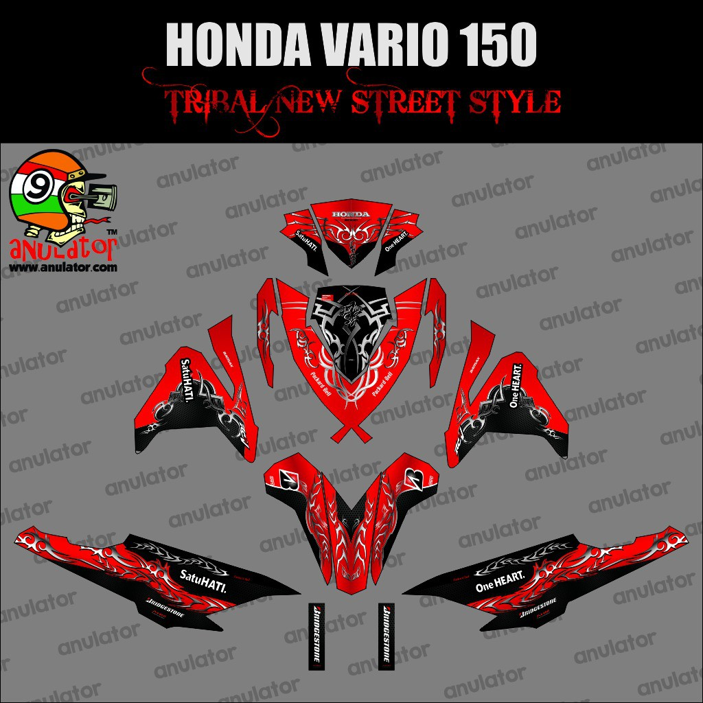 Aksesoris body motor sticker striping motor stiker honda vario 150 esp maroon tribal spec b shopee indonesia