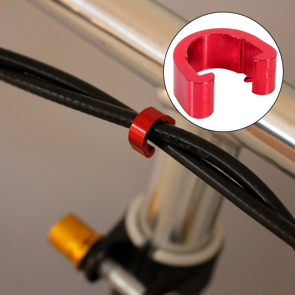 C-Clip Road Mountain MTB Bicycle Bike Cable Housing Hose Guides 10pcs Red//Gold
