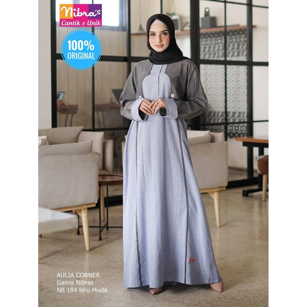 Desain Elegan Gamis Terbaru Nibras Nb 12 Biru Muda ORIGINAL Model Gamis  Wanita Sederhana