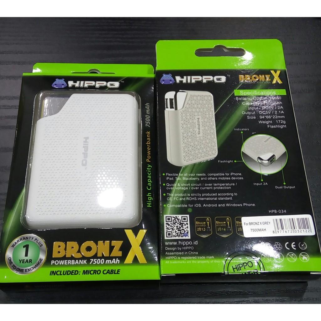 Powerbank Hippo Bronze X 7500 Mah Abu Dual Output Original Power Bank Bronz Simple Pack Putih Shopee Indonesia