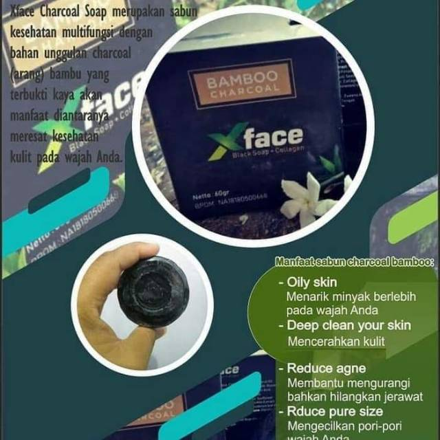 X Face Bamboo Charcoal Black Soap Collagen Shopee Indonesia