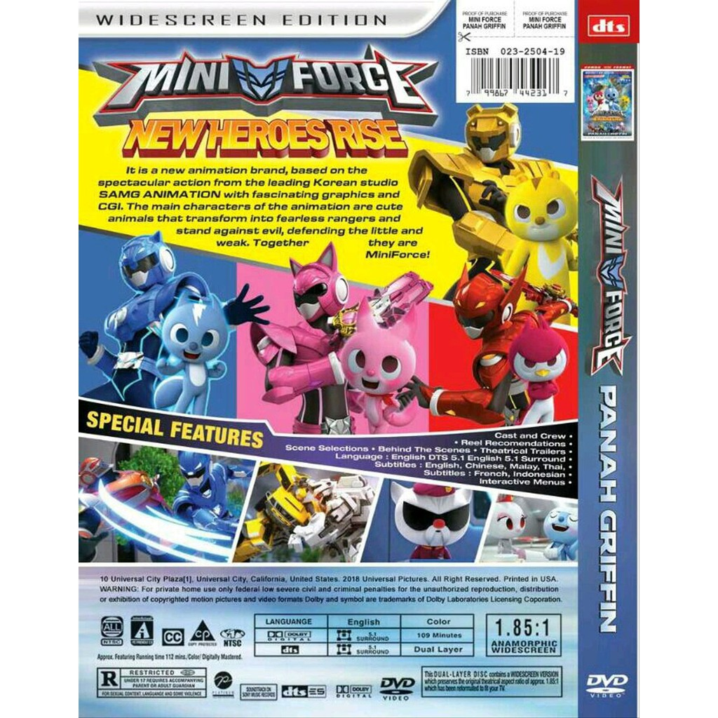 DVD FILM KARTUN ANAK MINI FORCE NEW HEROES RISE PANAH GRIFIN