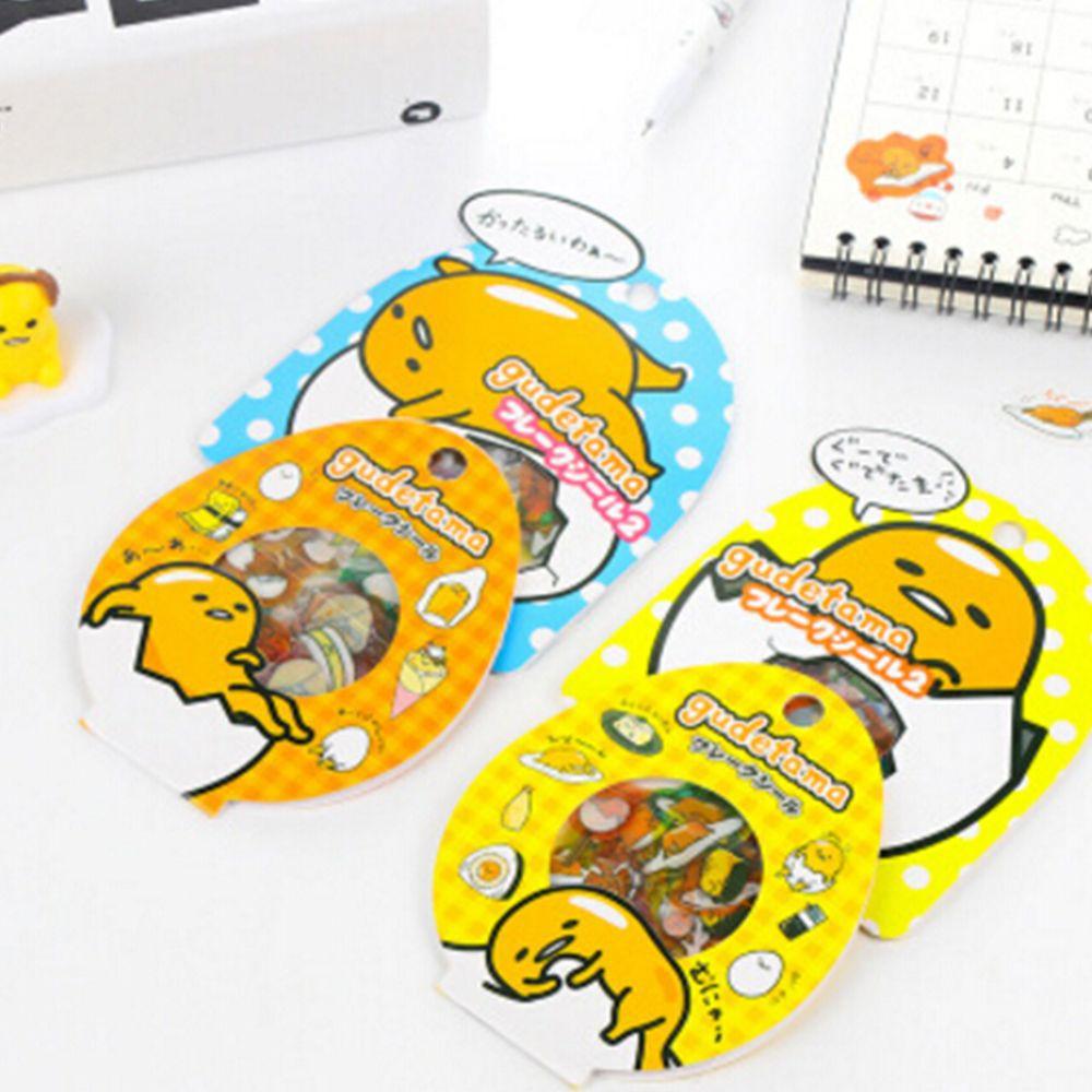 Label Stiker Transparan Multifungsi Motif Kuning Telur Kartun Gudetama Ala Jepang untuk Dekorasi