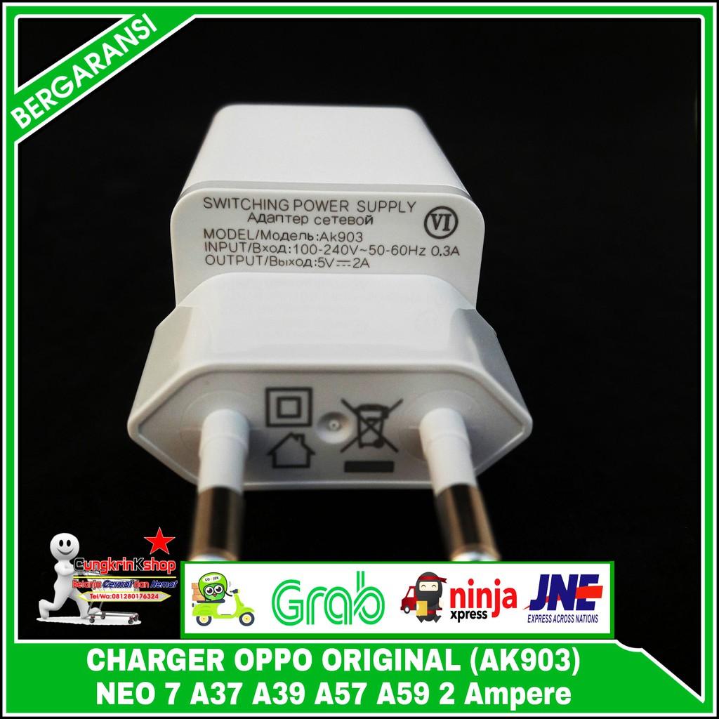 Charger Oppo Neo 7 A37 A39 A57 A59 Original 100 Ak903 5v 2 Ampere Casan F1s F3 F5 F7 A33 9 F1 2a Ak933 Shopee Indonesia