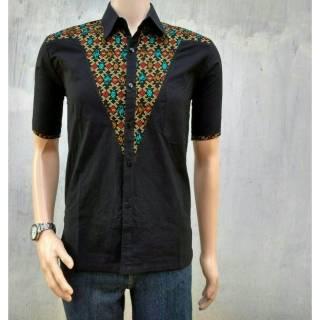 MF07 Baju Kemeja batik pria kekinian atasan kantor seragam lebaran grosir  tanah abang batam slim fit a7973c2b1c