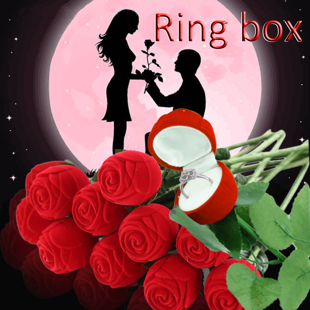 1Pc Kotak Cincin Bentuk Bunga Mawar Merah Bahan Velvet untuk Lamar/Nikah/Tunangan   Shopee Indonesia