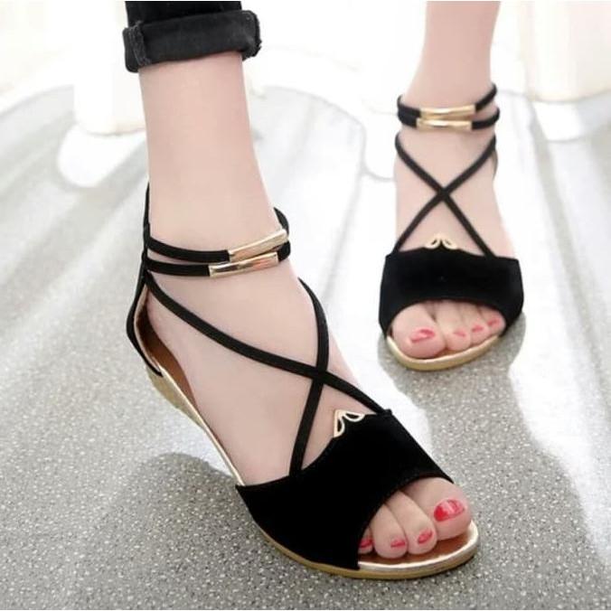 sepatu+Sepatu+Wanita+Gelang+Wedges+Suede+Wedges - Temukan Harga