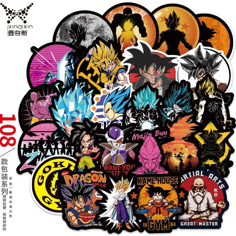 100Pcs//Lot Anime Dragon Ball Z Super Saiyan Goku Stickers Decal For Laptop Phone