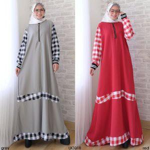 Baju Gamis Wanita Mix Square Dress Muslim Gamis Syari Jumbo Big Size Fit to XL Modern