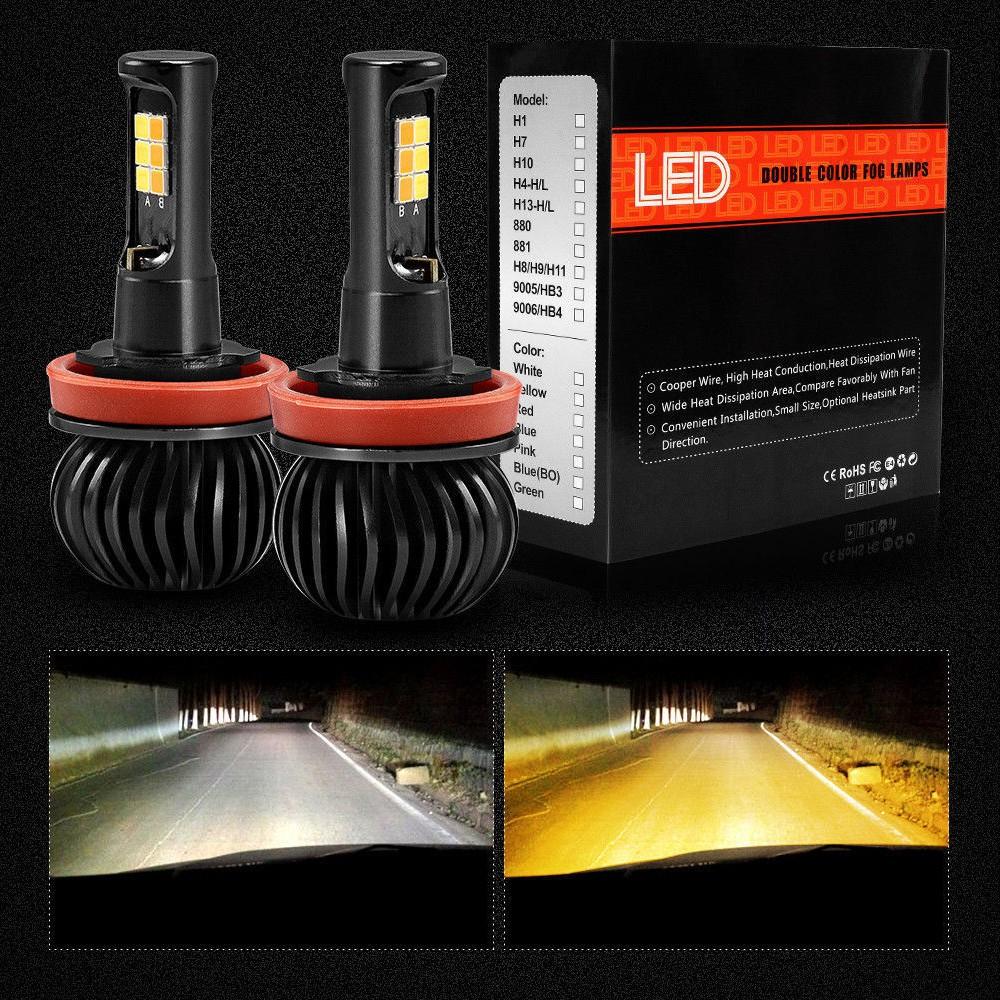 Bohlam Lampu Kabut Led H8 H11 9005 9006 Dual Warna 6000k Putih 3000k Amber Shopee Indonesia