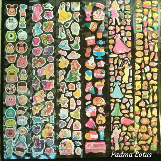 gambar stiker kartun lucu  stiker timbul bisa pilih motif sticker anak panjang aneka karakter kartun cwe cwo imut lucu murah