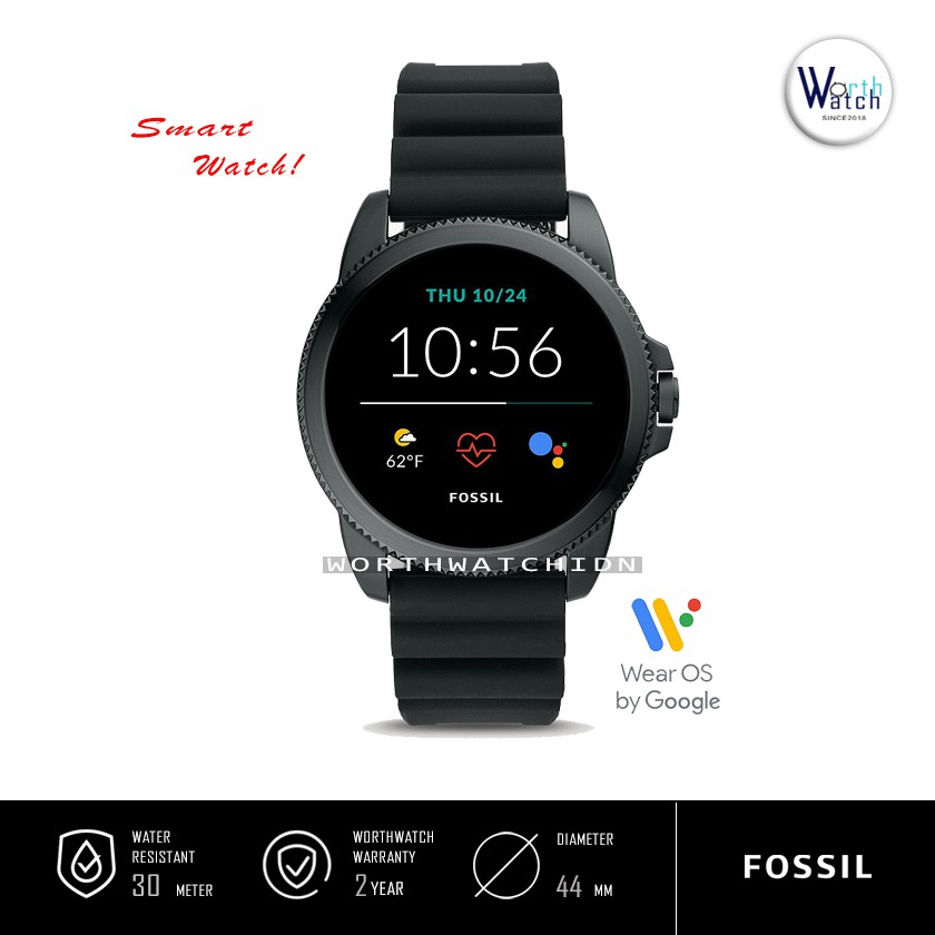 Smartwatch Pria Fossil Gen 5E Black Silicone Rubber Original FTW-4047