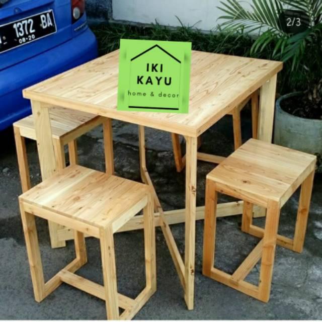 Set Meja Kursi Cafe. Set Meja Kursi Kayu Palet | Shopee Indonesia