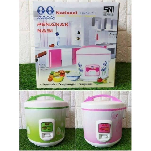 Magic Com Rice Cooker Qq National 1 8 Liter Aluminium Anti Lengket Warmer 2 In 1 Penanak Nasi Murah Shopee Indonesia