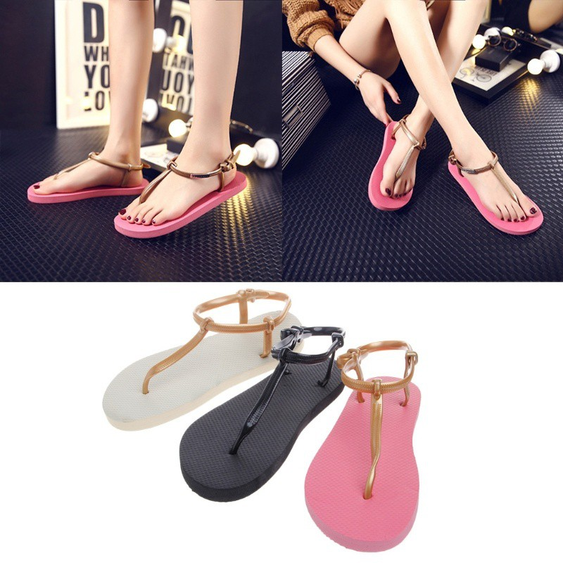 13a1f357455d Fashion Wanita  Sandal Flip Flop Flat Pantai Model T-Strap untuk Musim  Panas