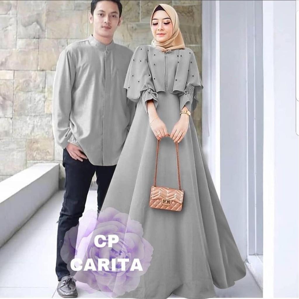 Baju Muslim Couple Model Baru Fashion Pria-Wanita / BAJU PASANGAN COUPLE  MUSLIM CP CARITA TERMURAH