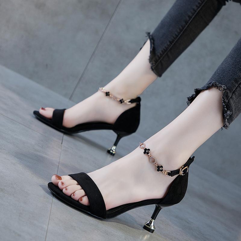 Spot Word Belt Women Fashion Sandals Black 2020 Summer New Mid Heel All Match Sexy High Heels Female Stiletto 5cm Shopee Indonesia