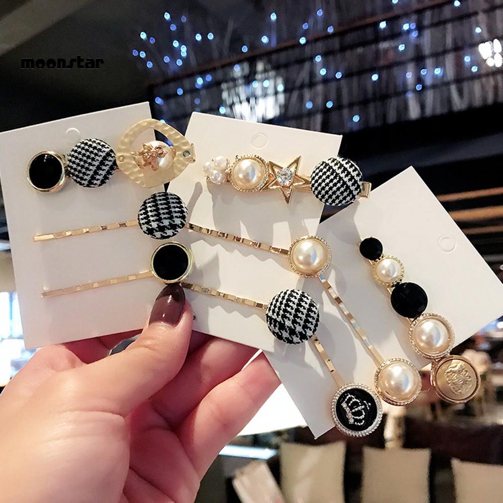 3pcs//4pcs Heart Pearl Hair Clip Sets Hairpins Bobby Pin Women Hair Accessories