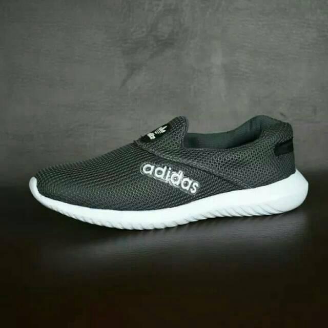 Sepatu Sport Adidas Slip On Abu Abu Tua Tanpa Tali Shopee Indonesia