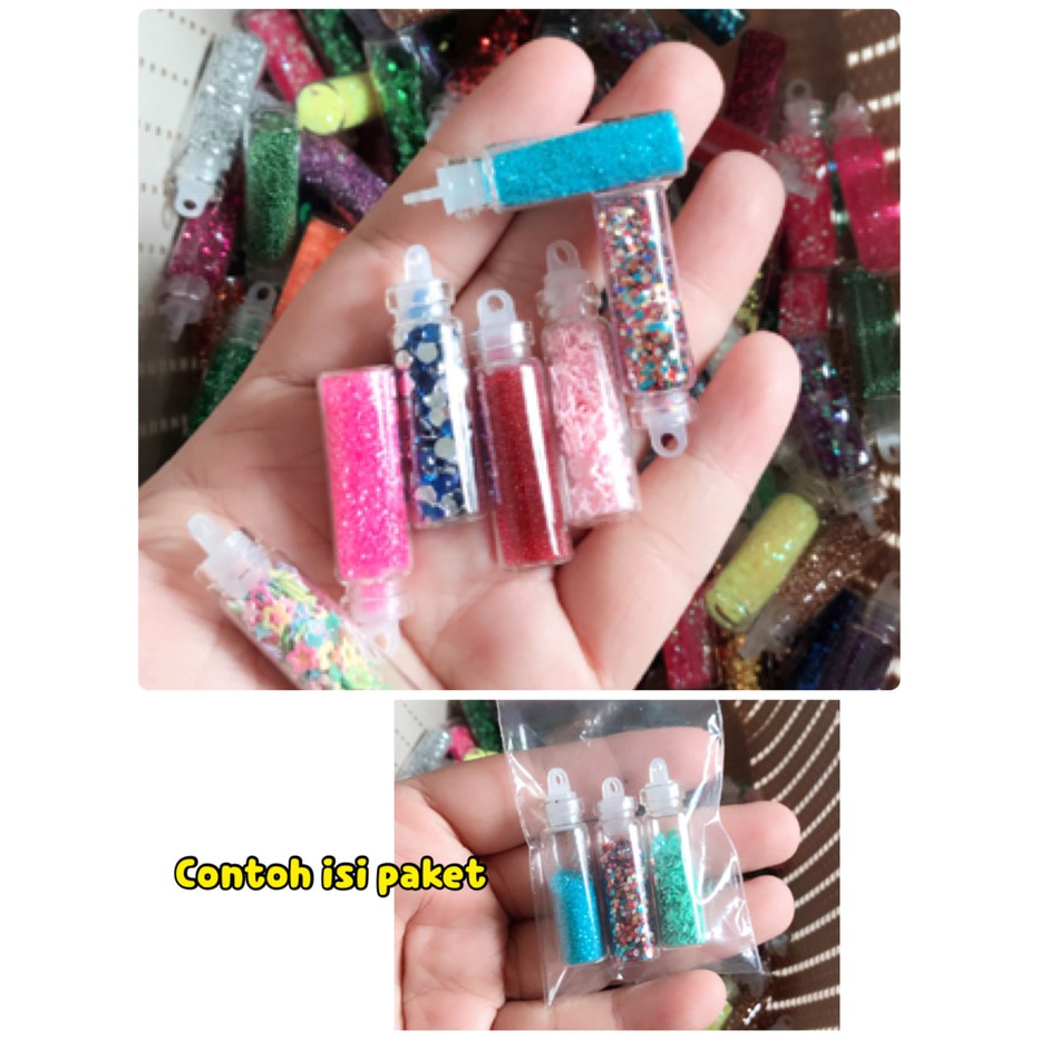 Paket Hemat Glitter Sprinkle Nail Art Hiasan Kuku Make Up Aksesoris